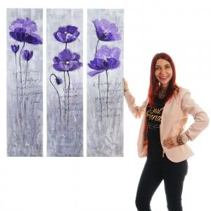 Set 3x dipinti a mano murali 3D pittura ad olio su tela ~ 30x120cm ...