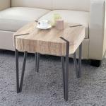 MCA Tavolo tavolino da Salotto con Ruote HWC-E76 60x120x41cm Bianco Legno Chiaro