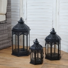 Set 3x lanterne decorative HWC-B35 stile country metallo e vetro